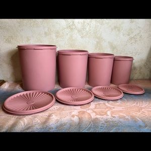 Vintage Dusty Rose Pink Tupperware canister set